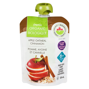 Compliments Organic Baby Food Purée Apple, Cinnamon & Oatmeal 128 ml