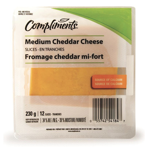 Compliments Medium Cheddar Cheese Slices 230 g