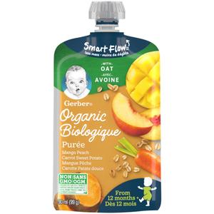 Gerber Organic Purée Mango, Peach, Carrot, Sweet Potato With Oats 99 g