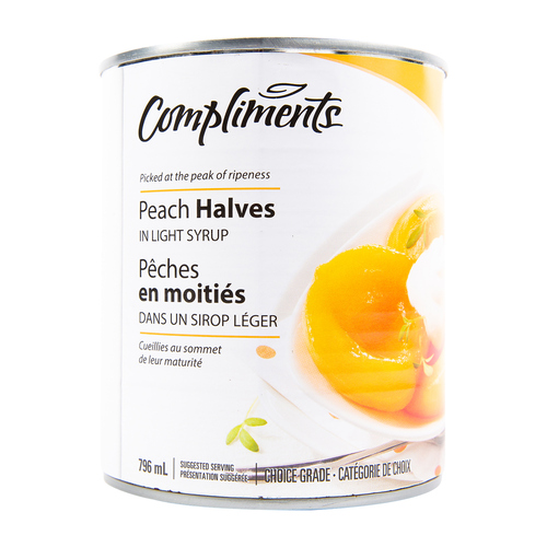Compliments Peach Halves In Light Syrup 796 ml
