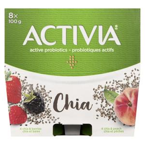 Danone Activia Chia Berry & Chia Peach Yogurt 8 x 100 g