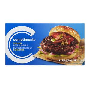 Compliments Sirloin Beef Burgers 1.13 8 Patties kg