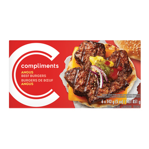 Compliments Maple Leaf Angus Beef Burgers 6 Patties 851 g