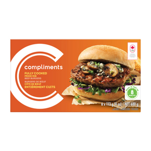 Compliments Fully Cooked Prime Rib Beef Burgers 6 Patties 680 g