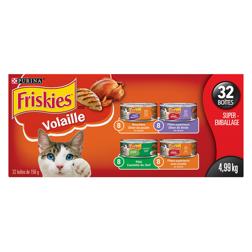 Friskies Cat Food Poultry Lovers Variety Pack Chicken & Salmon, Shredded Turkey & Cheese, Chunks Chicken Dinner 12 cans 156 g