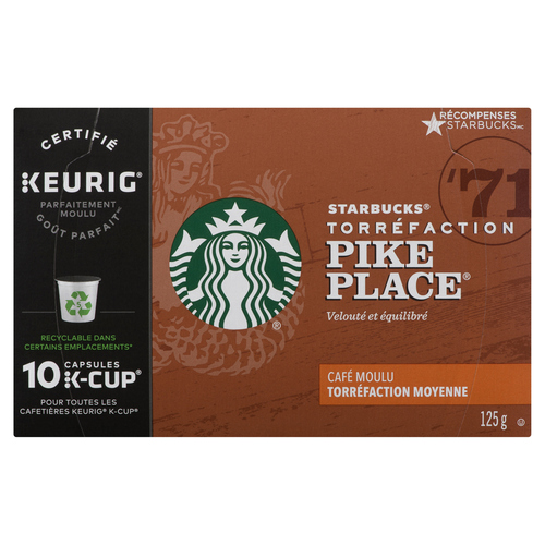 Starbucks Pike Place Roast Coffee K-Cup Pods 10 ea
