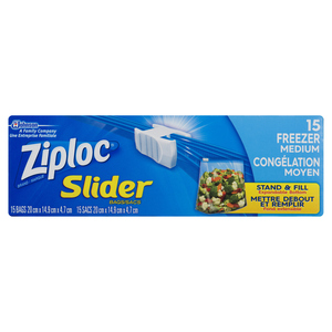 Ziploc Slider Freezer Bags with New Power Shield Technology Medium 15 Bags