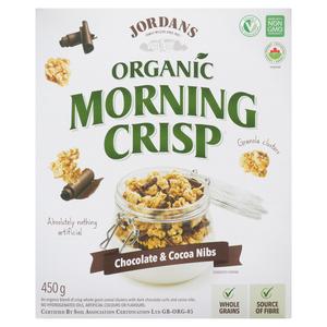 Jordan's Organic Morning Crisp Chocolate and Cocoa Nibs 450 g