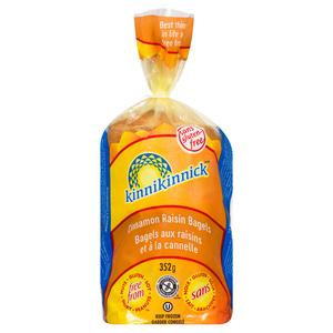 Kinnikinnick Gluten-Free Frozen Soft  Bagels Cinnamon Raisin 352 g