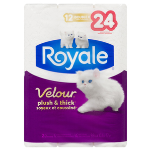 Royale Velour Double Roll Bathroom Tissue 2-Ply 142 Sheets 12 Rolls