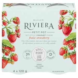 Riviera Less Sugar Yogurt Strawberry Set Style 4 x 120 g