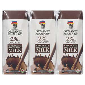 Organic Meadow Organic UHT Pasteurized 2% Milk Chocolate 3 x 250 ml