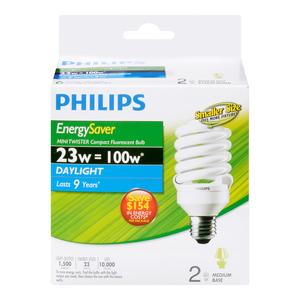Philips CFL Light Bulbs Mini Twister 23W 2 EA