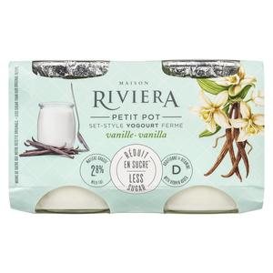 Riviera Less Sugar Yogurt Vanilla Set Style 4 x 120 g