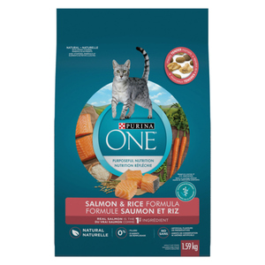 Purina ONE Dry Cat Food Natural Salmon & Rice 1.59 kg