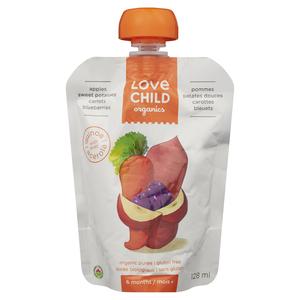 Love Child Organics Baby Food Apple, Sweet Potato, Carrot & Blueberry 128 ml