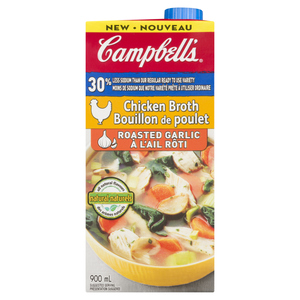 Campbell's Less Salt Roasted Garlic Chicken Broth 900 ml
