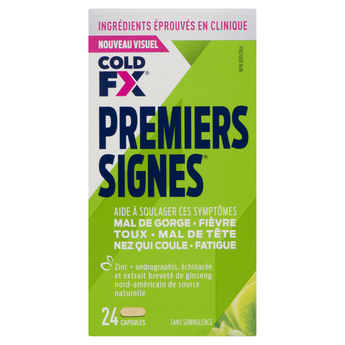 Cold-FX First Signs Flu Relief Cold Medicine 24 Capsules 1EA