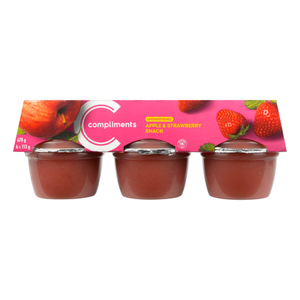 Compliments Snack Cups Unsweetened Apple Strawberry 6 x 113 g