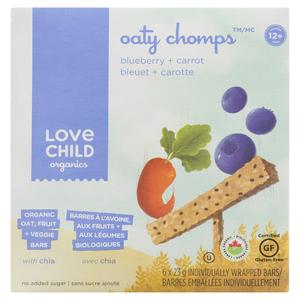 Love Child Organics Oaty Chomps Blueberry + Carrot 6 Bars x 23 g