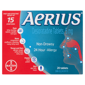 Aerius 24 Hour Allergy Tablets 5 mg 20 EA