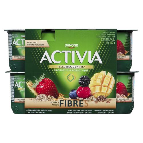 Activia Strawberry Mango Wildberry Yogurt 12 X 100 g