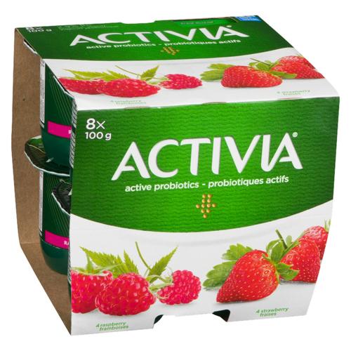 Activia Yogurt Strawberry & Raspberry 8 x 100 g