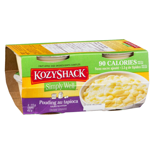 Kozy Shack Simply Well No Sugar Added Tapioca Pudding 4 x 113 g