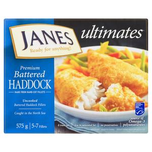 Janes Battered Haddock Fillets 575 g