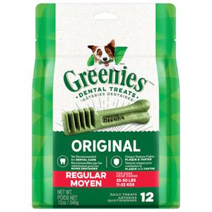 Greenies Original Regular Natural Dental Care Dog Treats 12 Treats 12 oz