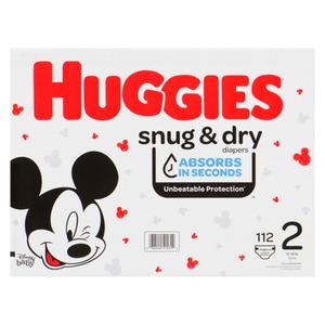 Huggies Snug & Dry Size 2 Giga Diapers, 112 count