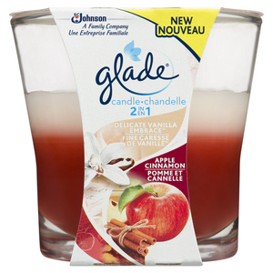 Glade 2in1 Scented Candle Air Freshener Vanilla Embrace & Apple Cinnamon 1 Pack