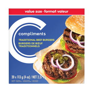 Compliments Traditional Beef Burger 20 Patties 2.27 kg