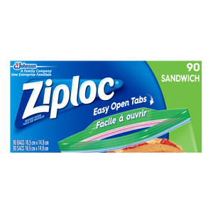 Ziploc Sandwich Bags with New Grip 'n Seal Technology 90 Bags