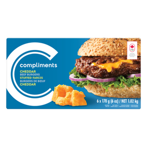 Compliments Burgers Cheddar Stuffed Beef 6 Patties 1.02 kg