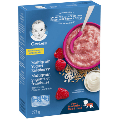 Gerber Stage 3 Yogurt Raspberry Baby Multigrain Cereal 227 g