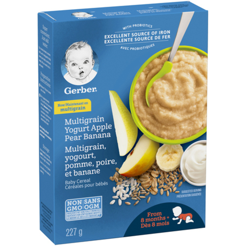 Gerber Stage 3 Baby Cereal Multigrain, Yogurt, Apple, Pear & Banana 227 g