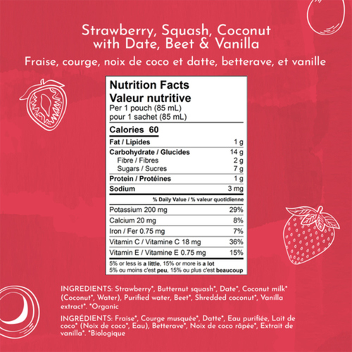 Once Upon a Farm Organic Baby Food Strawberry, Squash & Coconut With Date, Vanilla & Chia 85 ml