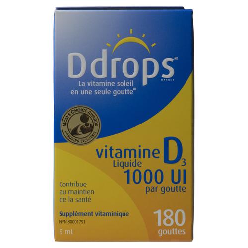 D Drops Liquid Vitamin D 1000 IU 180 Drops