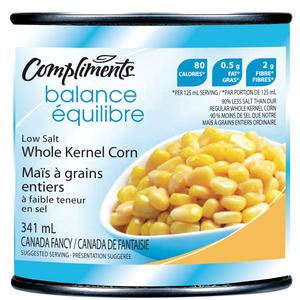 Compliments Balance Whole Kernel Low Salt Corn 341 ml