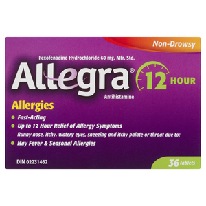Allegra Allergy Relief 12 Hours Non Drowsy 60 mg Tablets 36 EA