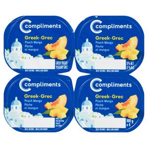 Compliments 0% Greek Yogurt Peach Mango 4 x 100 g