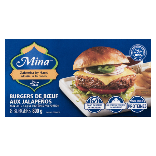 Mina Halal Jalapeo Beef Burgers 800 g