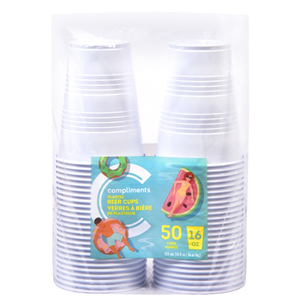 Compliments Plastic Beer Cup White 16-ounce 50 EA