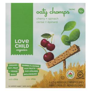 Love Child Organics Oaty Chomps - Cherry & Spinach Baby Food Bars 138 g