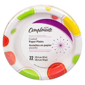 Compliments Decorated Paper Plates 10-inch 22 EA