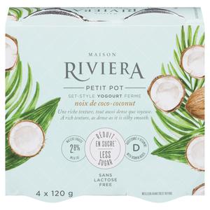 Riviera Less Sugar Yogurt Coconut Set Style 4 x 120 g