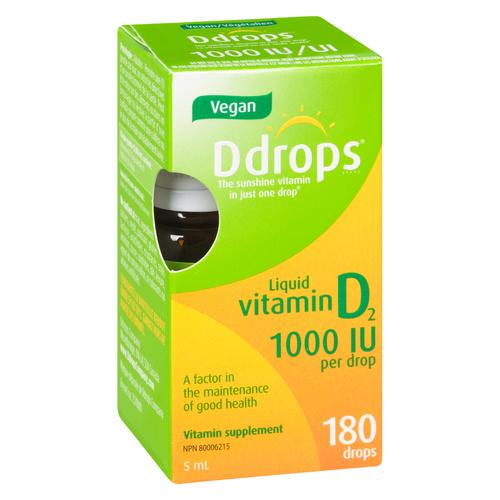 Vegan Ddrops Liquid Vitamin D2 180 Drops 1000 IU per drop