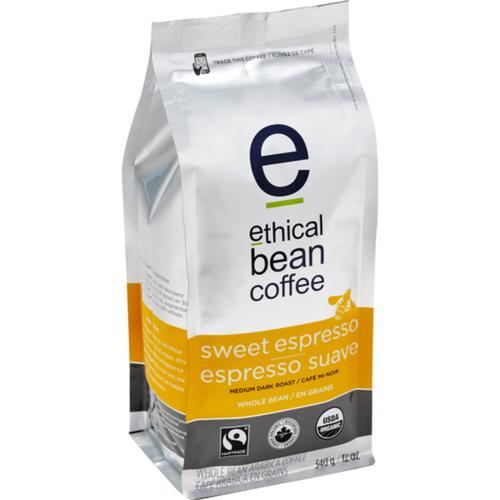 Ethical Bean Organic Whole Bean Coffee Sweet Espresso Medium Dark Roast 340 g