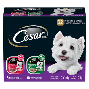Cesar Wet Dog Food Filets Roasted Turkey And Prime Rib In Sauce 12 x 100 g